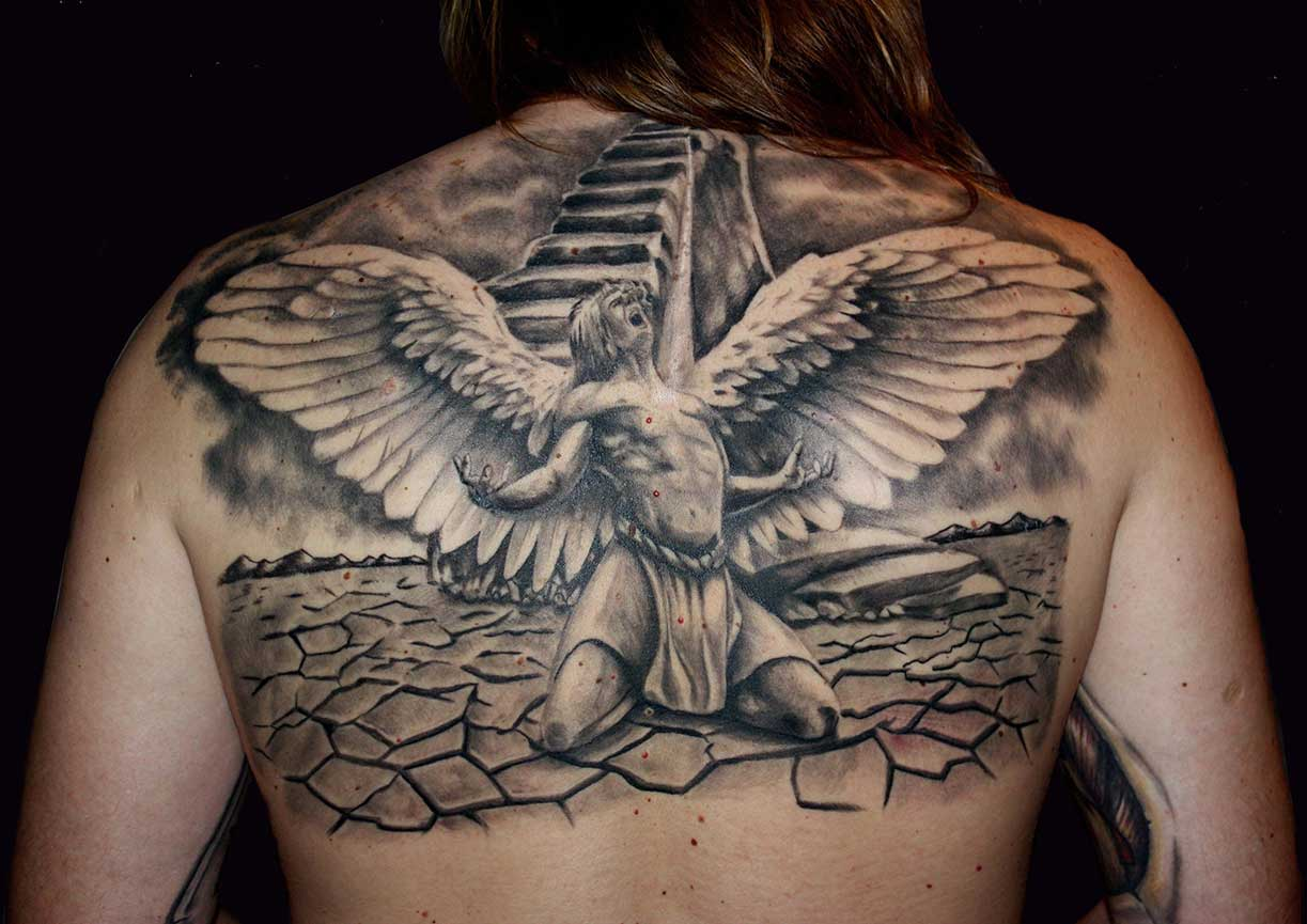 сосна падший ангел фото тату на спине смотрятся модели