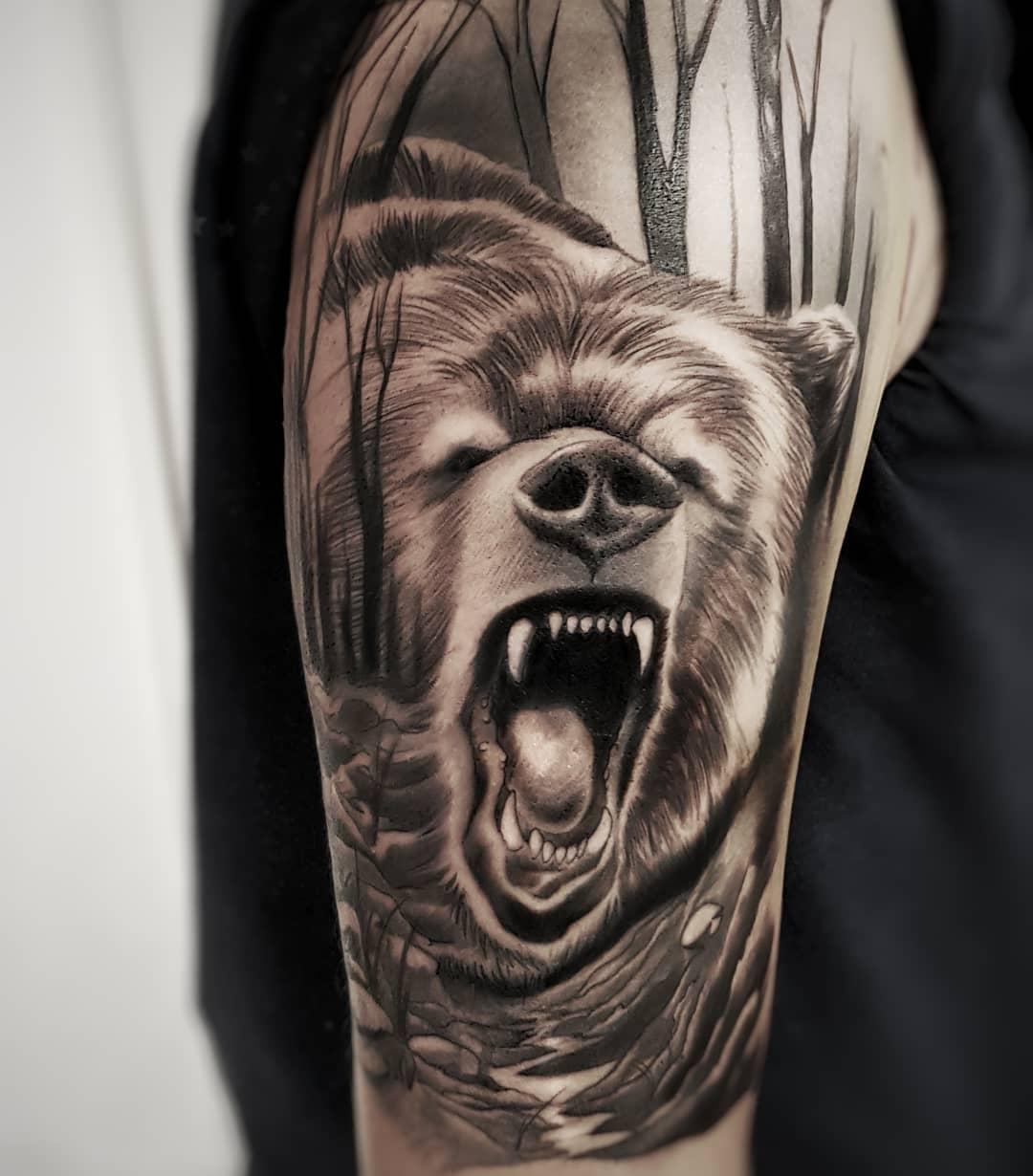 Тату медведей — 111 лучших фото татуировок 2020 года | 1230x1080